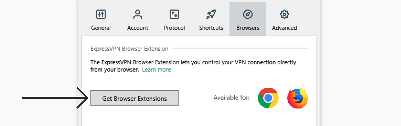 "Click ""Get Browser Extensions."""