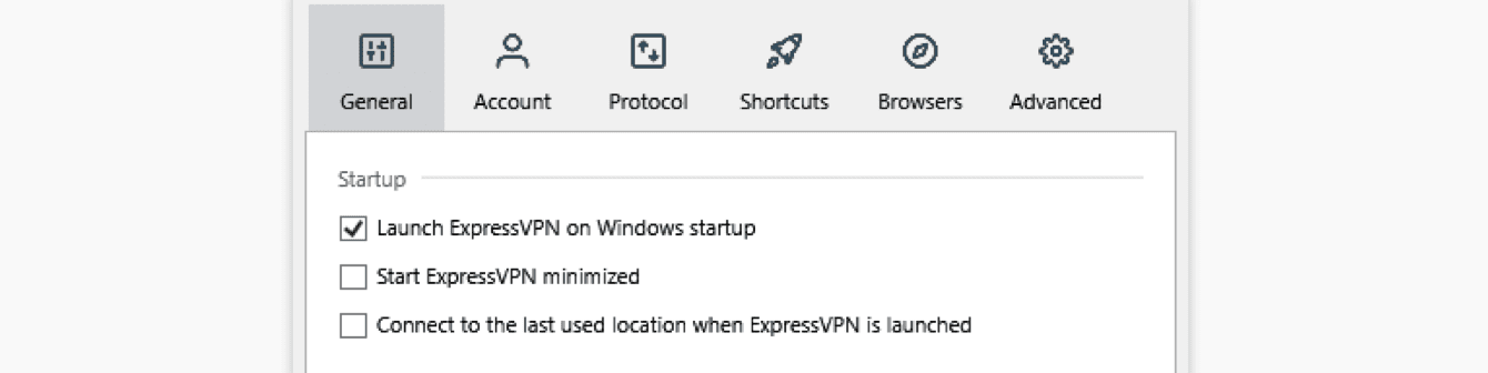 "Check or uncheck the box for ""Launch ExpressVPN on Windows startup."""