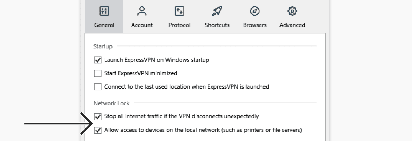 "Check ""Stop all internet traffic if the VPN disconnects unexpectedly"" and ""Allow access to devices on the local network (such as printers or file servers)""."