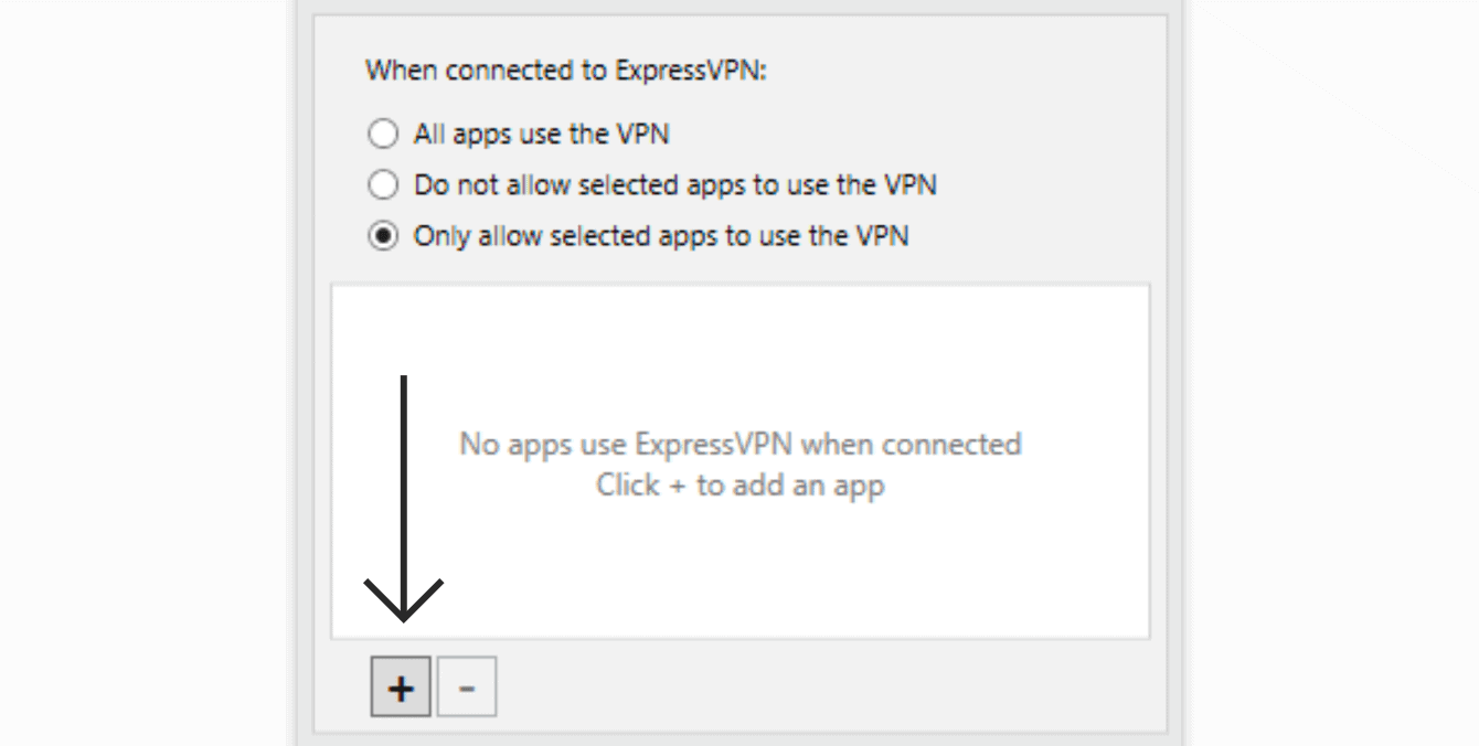 "Select ""Only allow selected apps to use the VPN,"" then click the ""plus sign."""