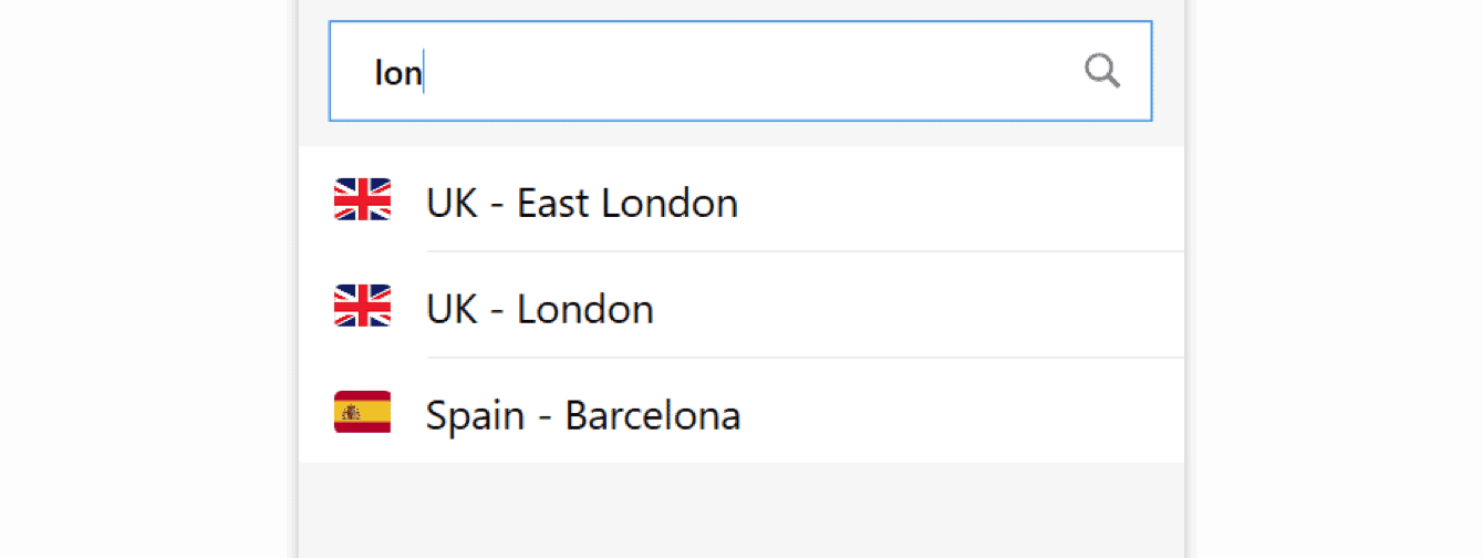 Search for a location in the search bar.