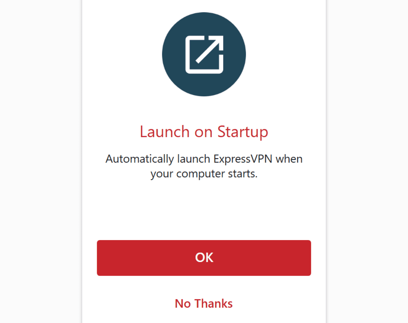 Select your preference for launching ExpressVPN on startup.