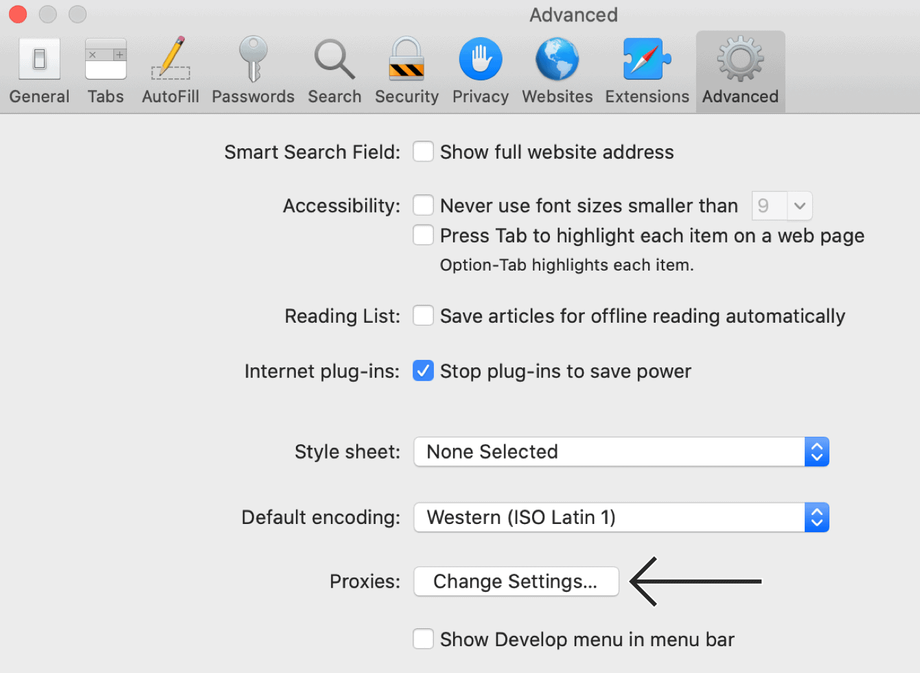 "In the ""Advanced"" tab, click ""Change Settings…"""