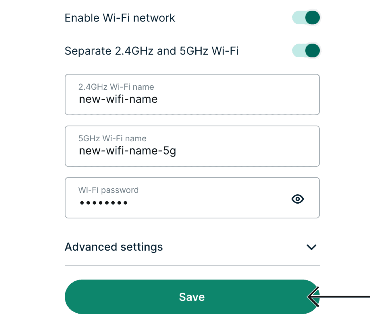 "Enter the Wi-Fi name and password you want to use for your ExpressVPN router, then click ""Save."""