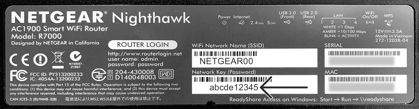 You can find the default network password on the bottom of your Netgear router.