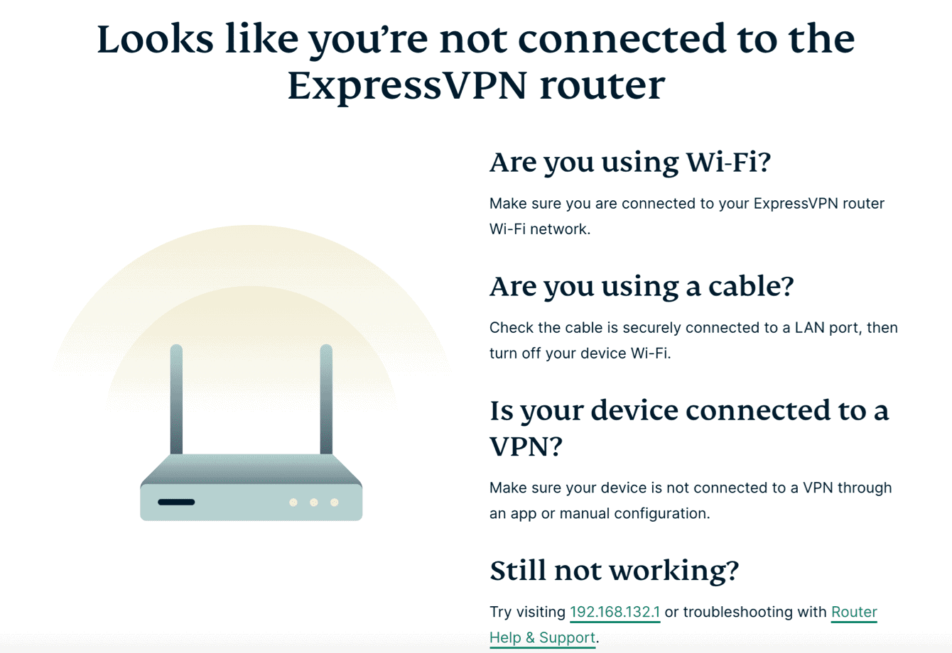 The ExpressVPN router dashboard when you're not connected to the router.