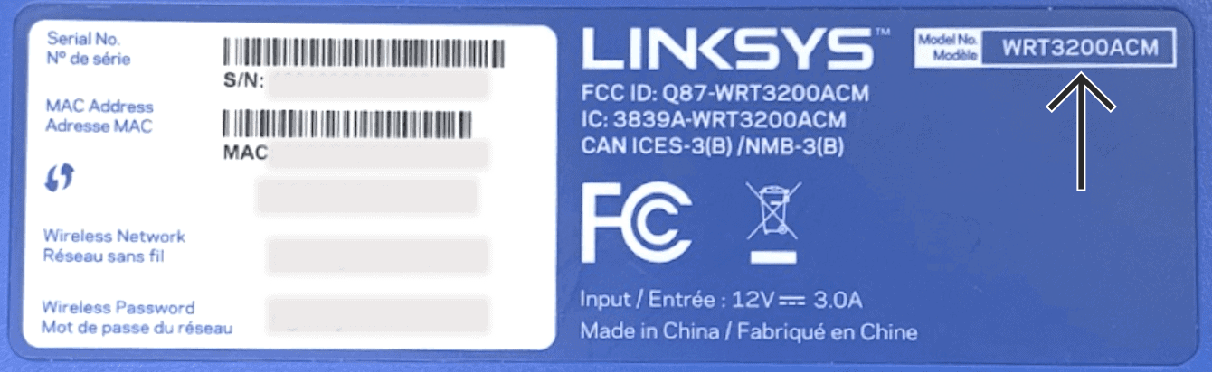 The bottom of Linksys WRT3200ACM.