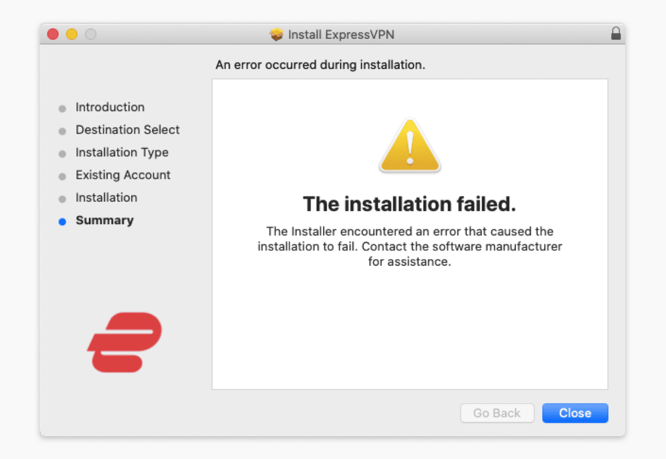 "The installation failed"" error appears when you are trying to install the ExpressVPN app."