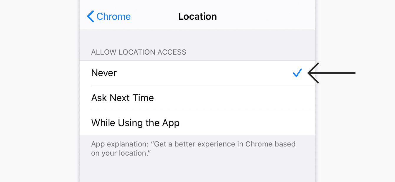 "Under ""Location,"" tap ""Never."""