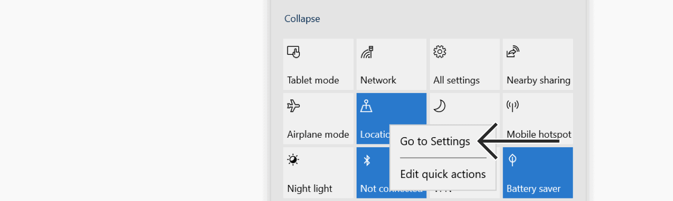 "Right click ""Location,"" then select ""Go to Settings."""