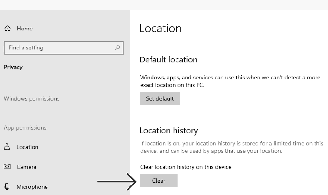 "Under ""Location History,"" click ""Clear."""