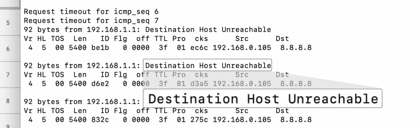 "The ping tests should read ""Timed Out"" or ""Destination Host Unreachable."""