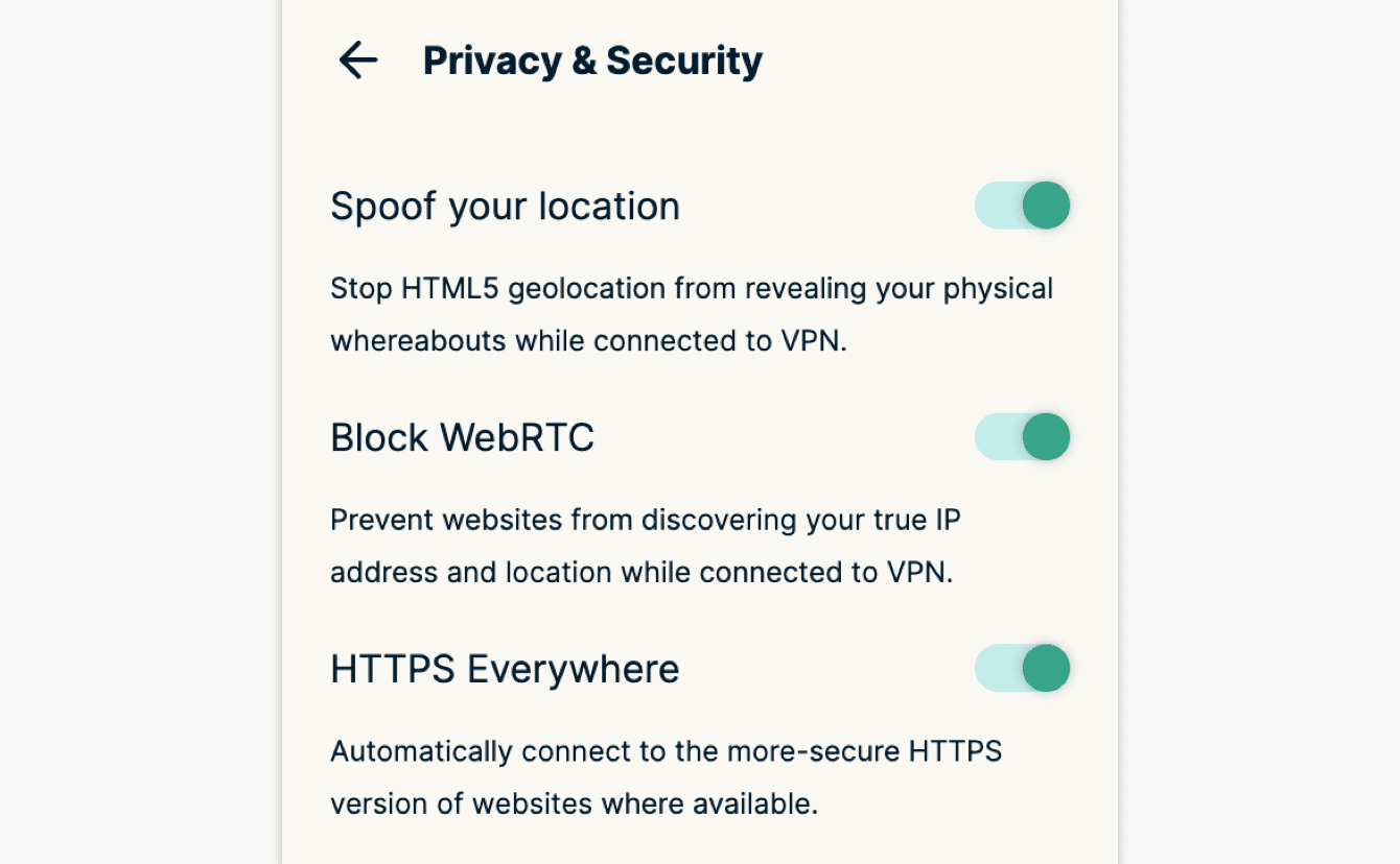 """You can apply additional privacy and security features in """"Privacy & Security."""""""