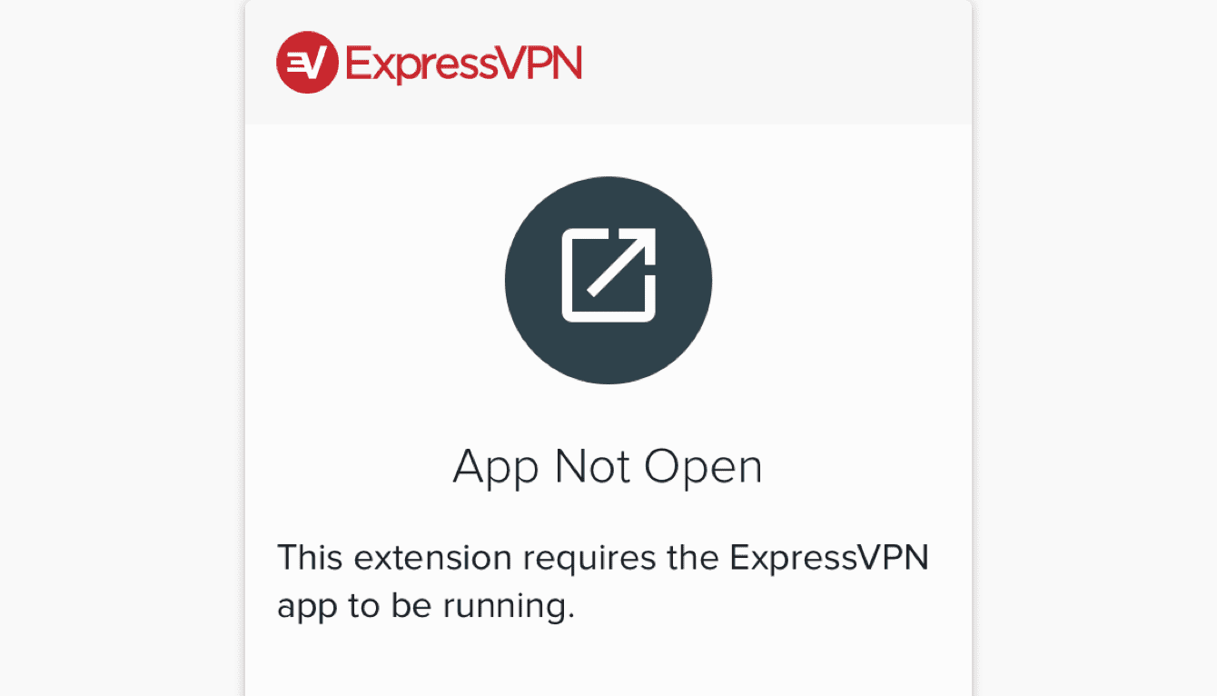 A screen that shows the ExpressVPN app is not open.