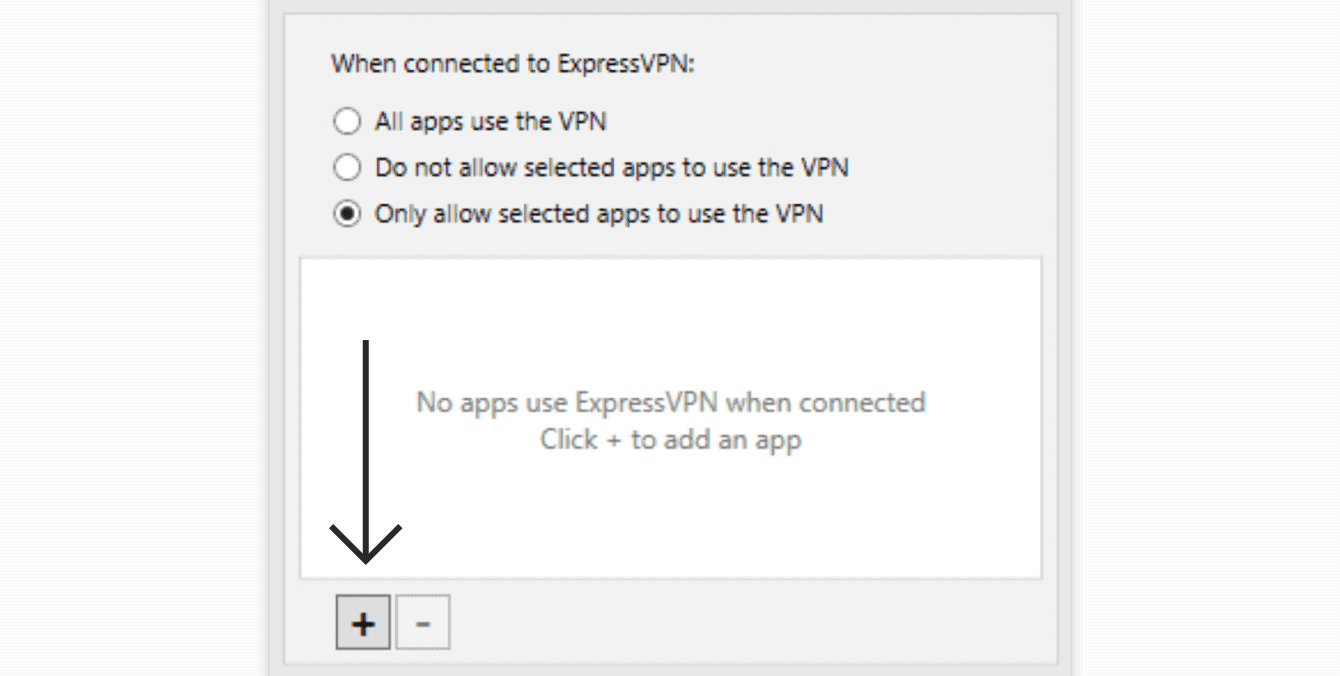"Select ""Only allow selected apps to use the VPN"", then click the plus sign."