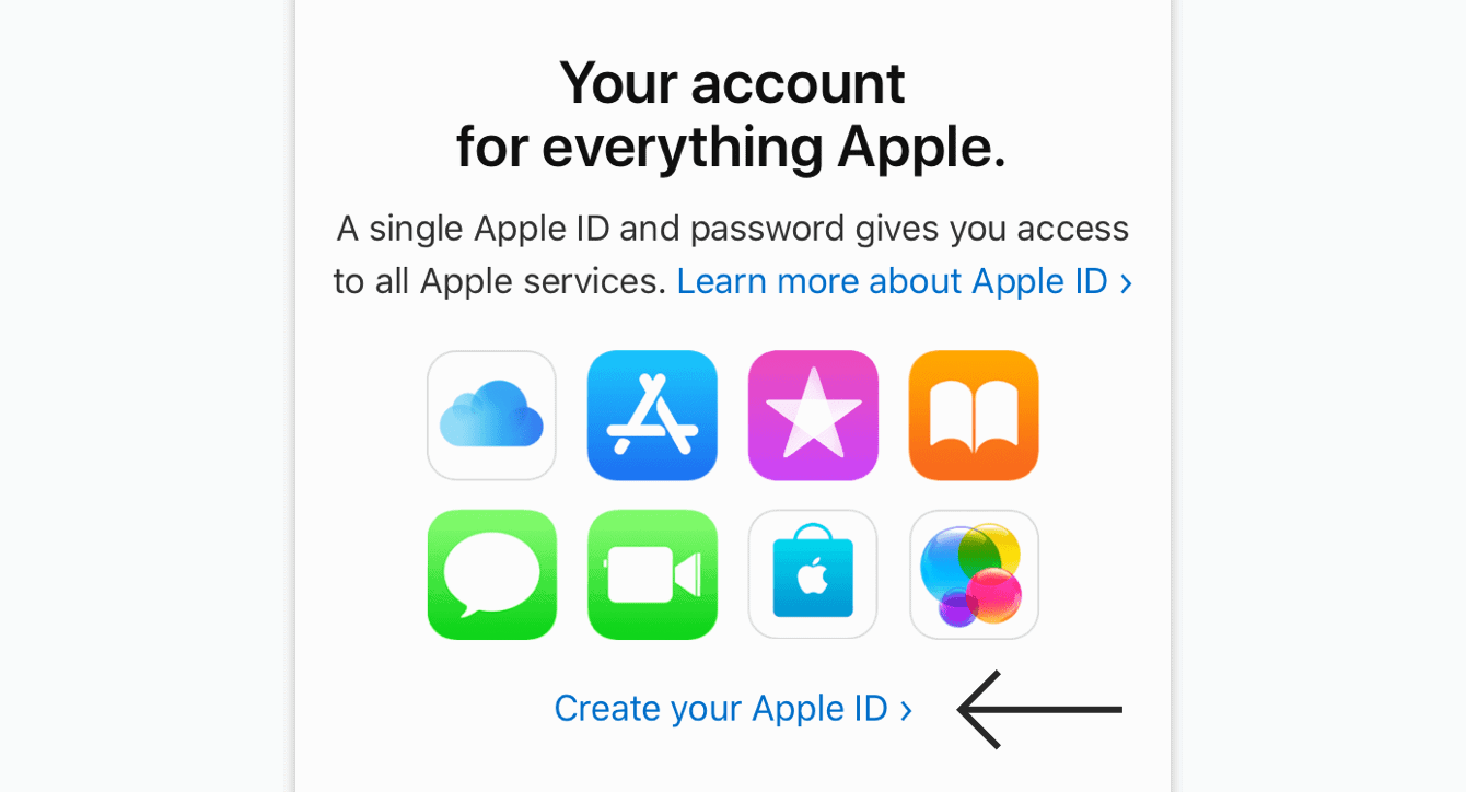 "Tap ""Create your Apple ID."""