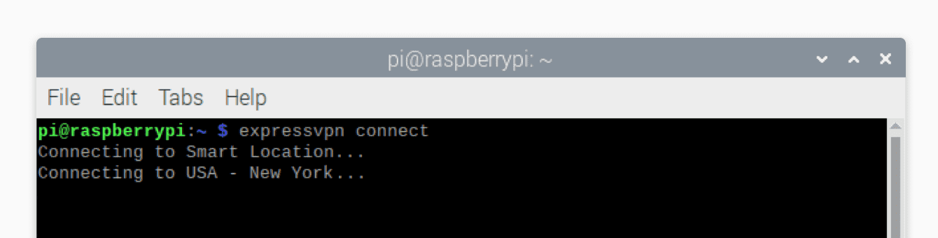 """Run """"expressvpn connect"""" to connect to a VPN server location."""