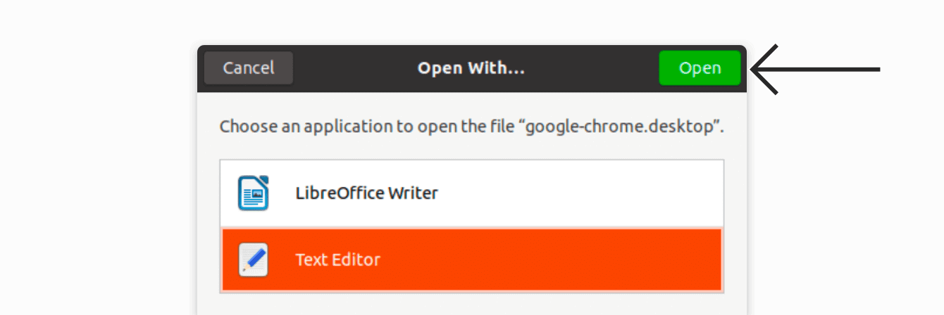 "Select ""Text Editor,"" then click ""Open."""
