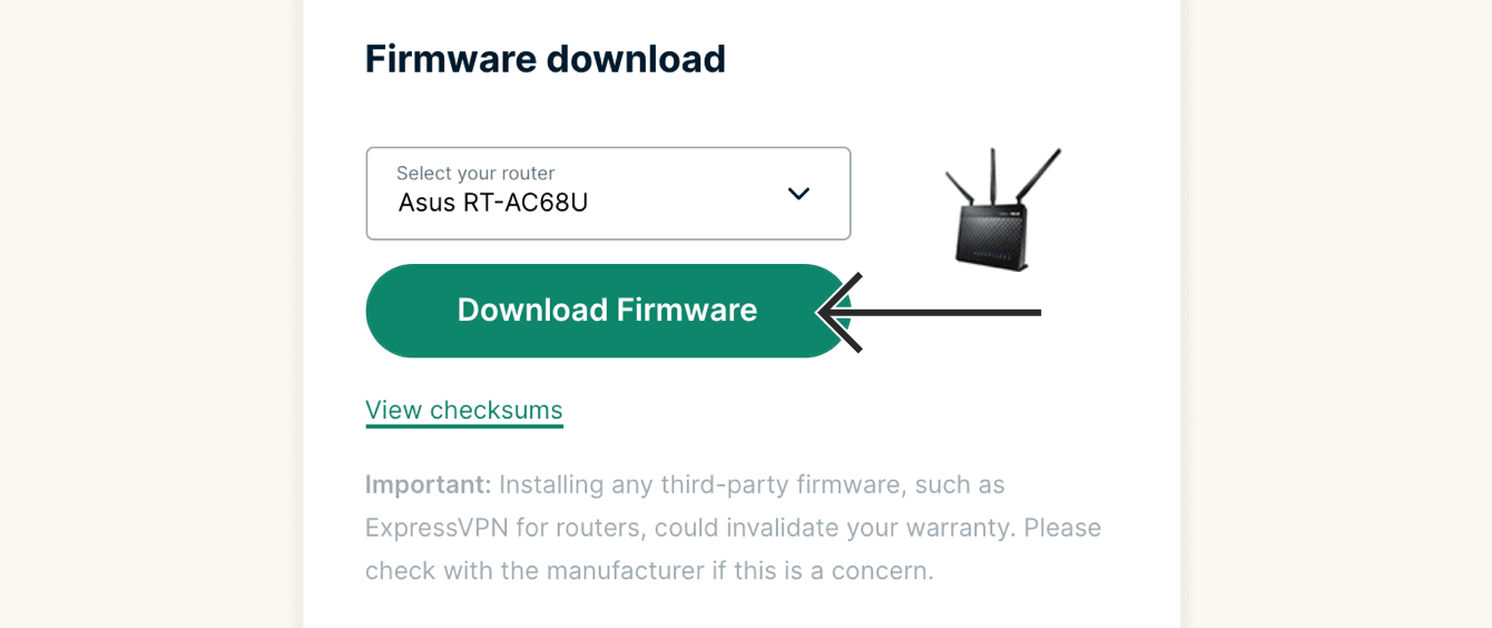 "Select your router, then click ""Download Firmware."""