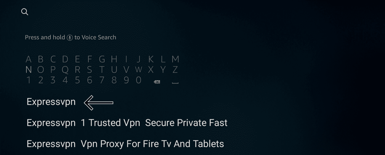 "Search for ""ExpressVPN"" in the store."