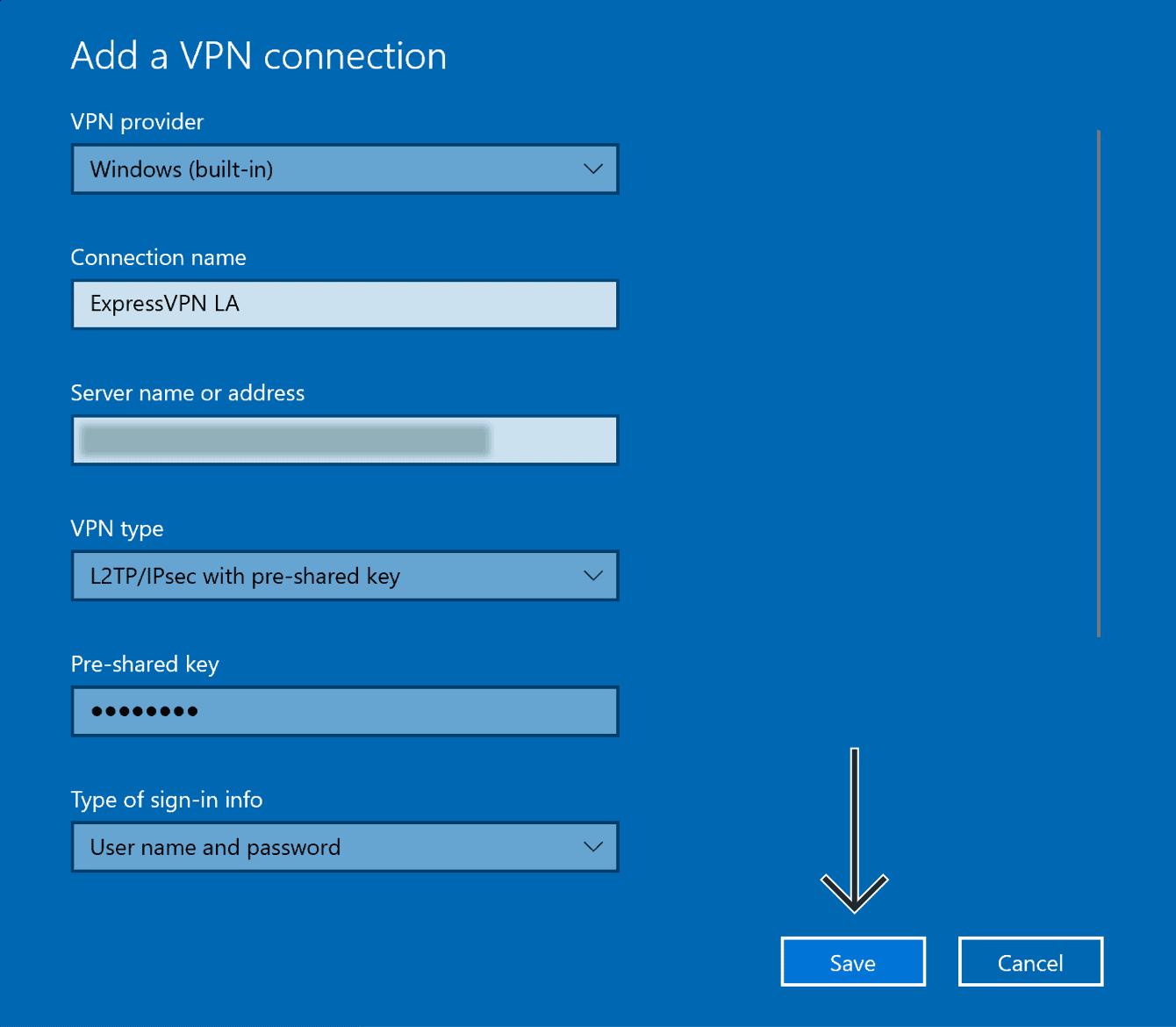 "Enter the details for the L2TP VPN connection, then click ""Save."""