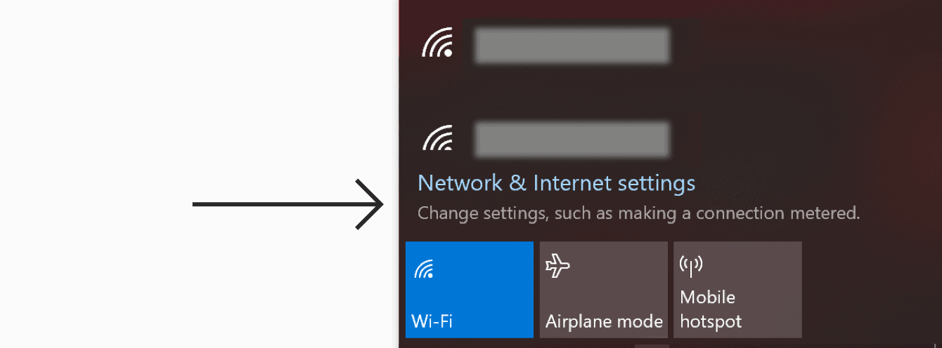 """Click """"Network and Internet settings."""""""