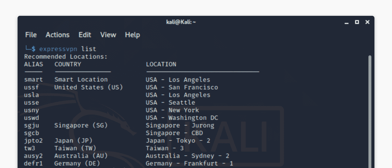"After running ""expressvpn list,"" you will see a list of recommended locations to connect to."