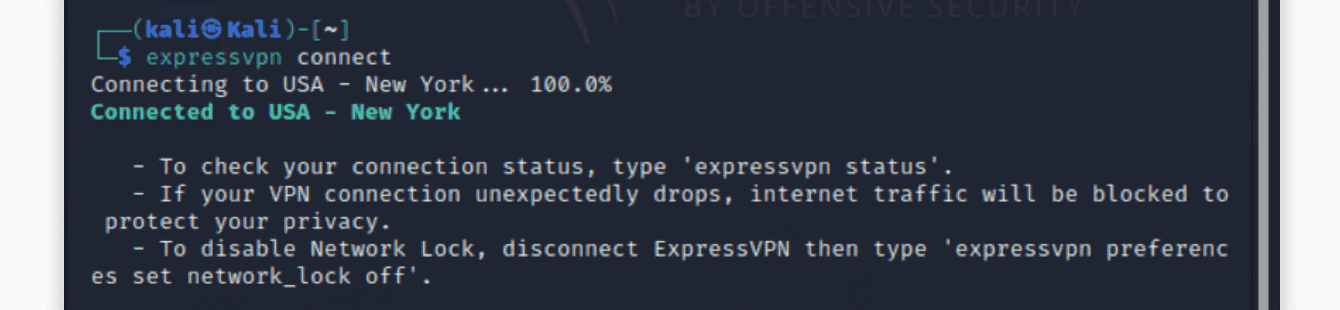 You are connected to ExpressVPN.