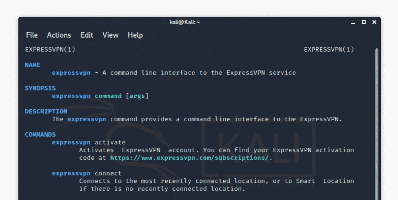 "Run ""man expressvpn"" to see a list of commands."