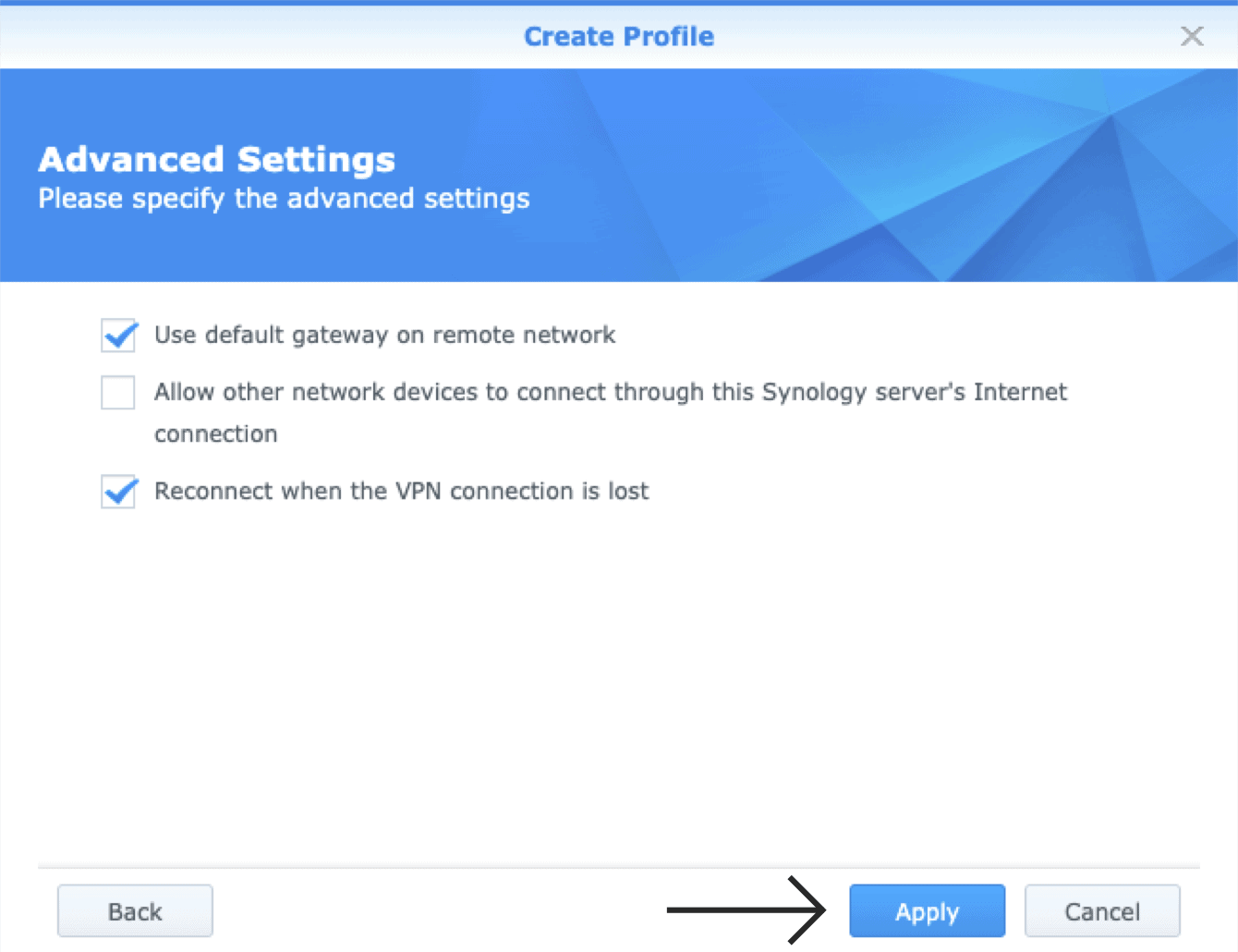 "Click ""Apply"" to continue with your OpenVPN settings."