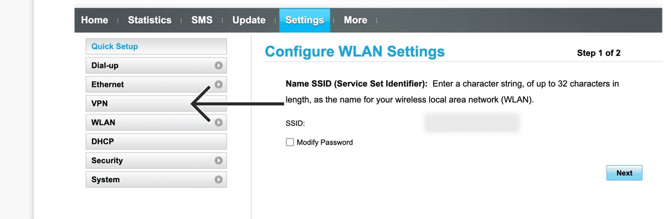 "Select ""VPN."""