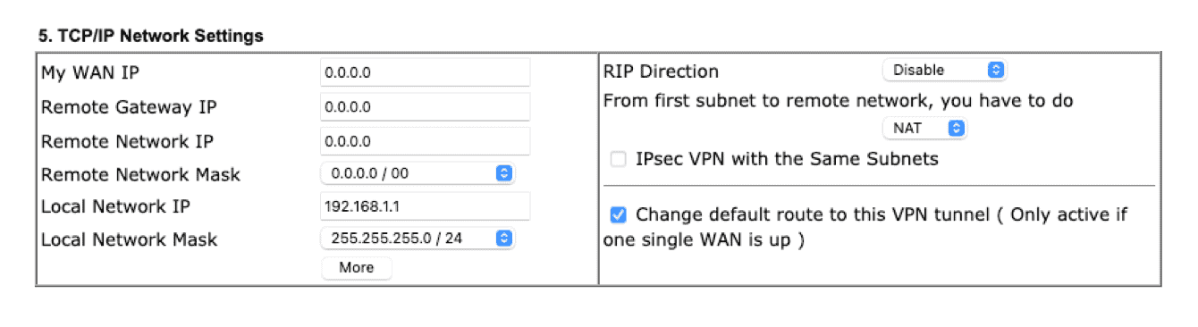 "Enter information for ""TCP/IP Network Settings."""
