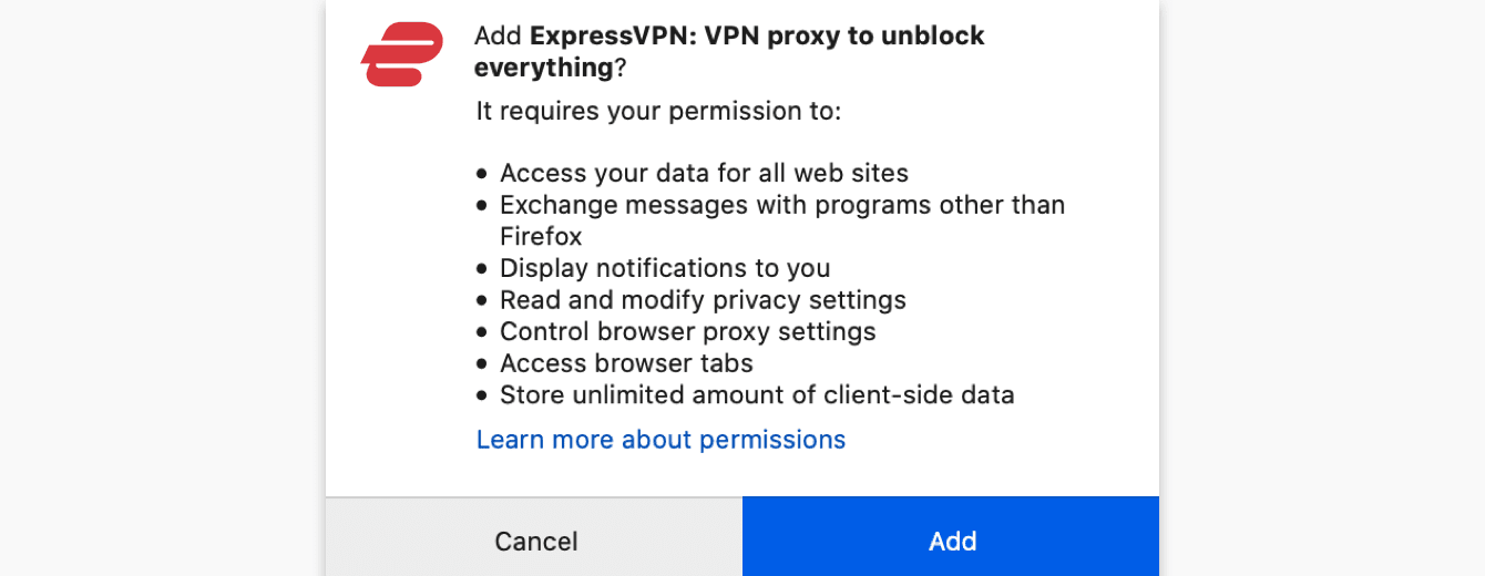 "To add the ExpressVPN browser extension to your browser, click ""Add."""