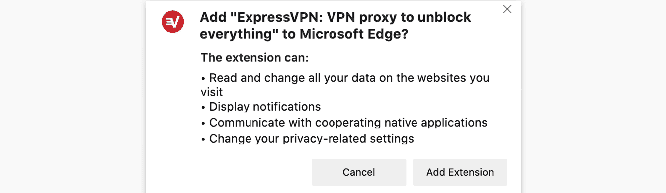 When installing the browser extension on Microsoft Edge, you will receive a permission request.