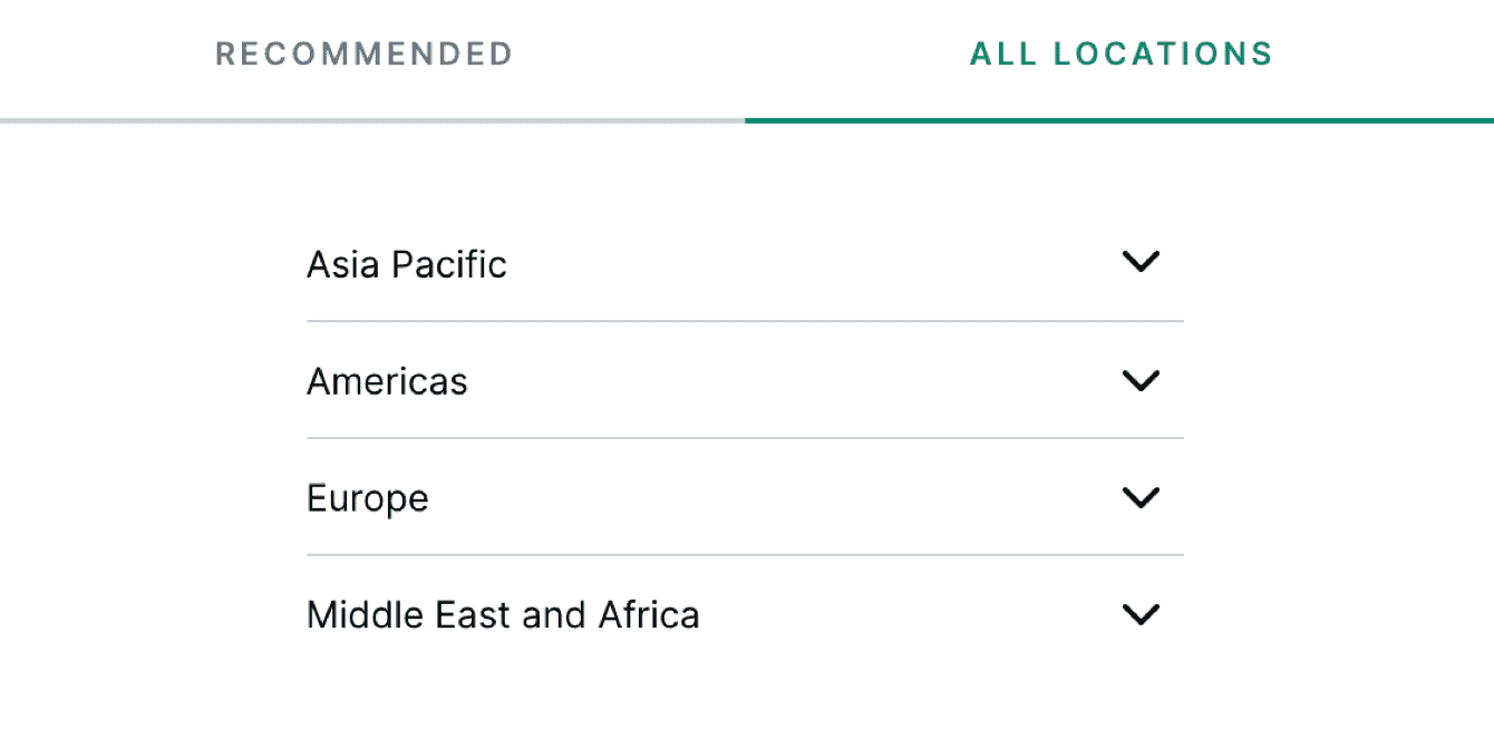 The All locations tab lists the server locations by region.