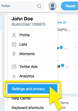 """Twitter dropdown menu with """"Settings and privacy"""" highlighted."""