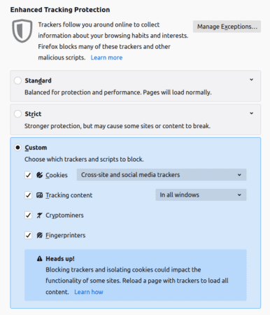 Screenshot of Enhanced Tracking Protection options in Firefox