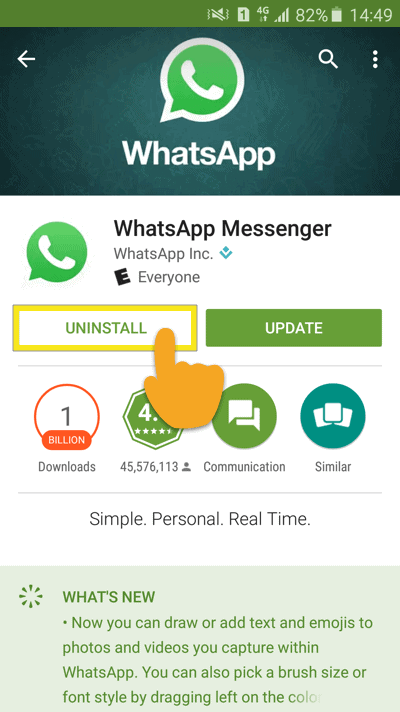 click android uninstall whatsapp