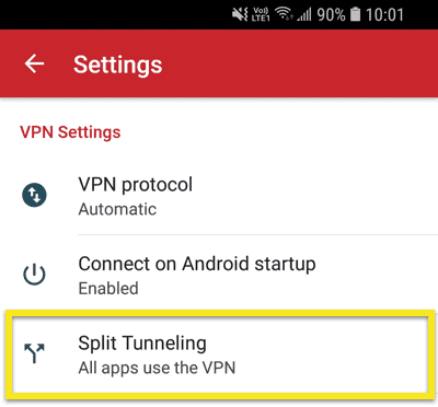 "Tap the ""Split Tunneling"" menu in the ExpressVPN Android app."