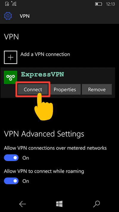 connect to VPN on windows 10 mobile