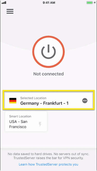 Tap on the location picker to select a VPN location.
