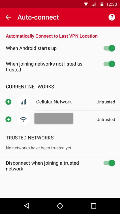 The auto-connect settings menu in the ExpressVPN Android app.
