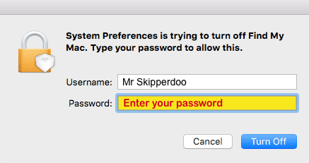 enter mac password