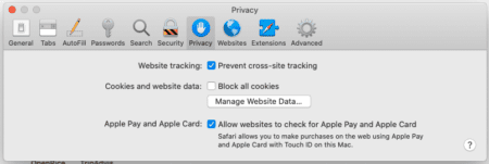 Screenshot of Safari Privacy options