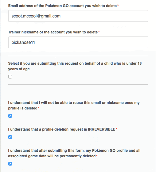 fill out the profile deletion form