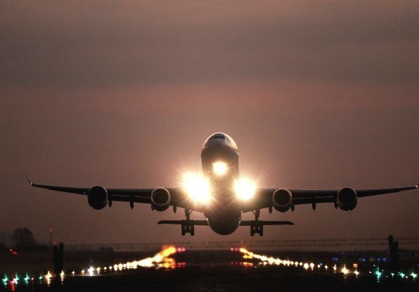 Image of Aeroplane take off at an airport where the may be critical parts which need monitoring.