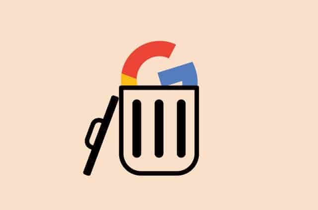 "An illustration of the Google ""G"" in a trash can."
