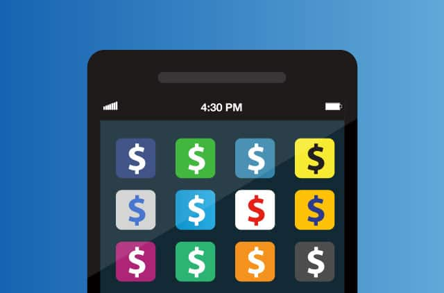 A mobile phone with apps that have dollar signs on them