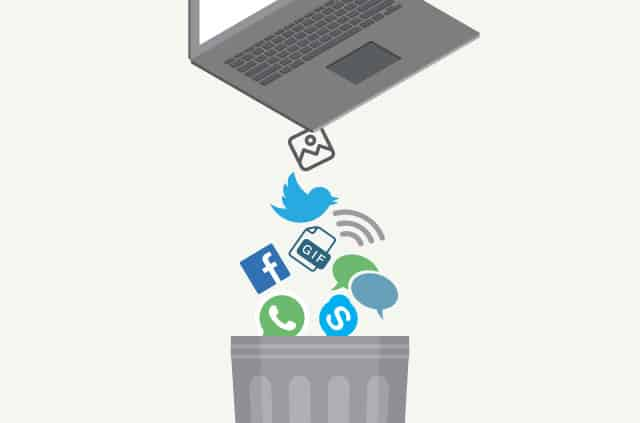 An image of a laptop shaking its contents into the bin.