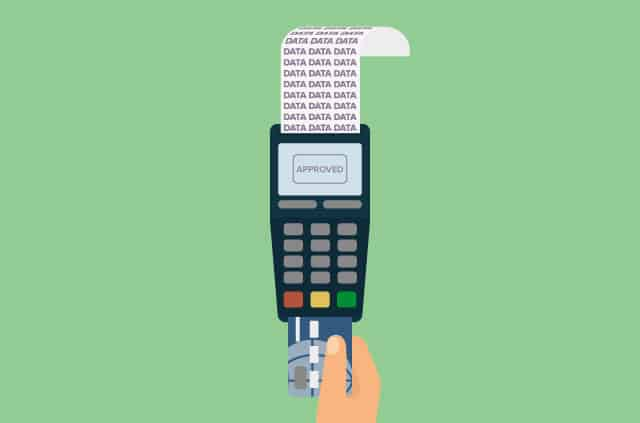 An illustration of a credit card reader spewing out data.